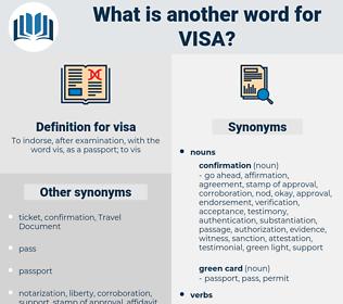 visa, synonym visa, another word for visa, words like visa, thesaurus visa
