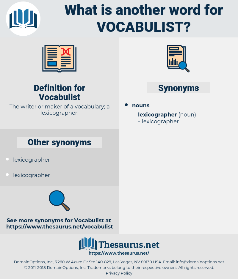 Vocabulist, synonym Vocabulist, another word for Vocabulist, words like Vocabulist, thesaurus Vocabulist