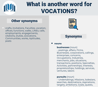 Vocations, synonym Vocations, another word for Vocations, words like Vocations, thesaurus Vocations