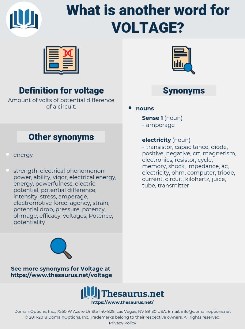 voltage, synonym voltage, another word for voltage, words like voltage, thesaurus voltage