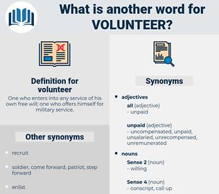 volunteer, synonym volunteer, another word for volunteer, words like volunteer, thesaurus volunteer