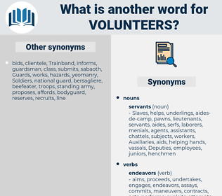 volunteers, synonym volunteers, another word for volunteers, words like volunteers, thesaurus volunteers
