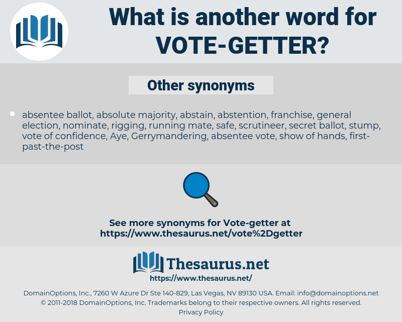 vote-getter, synonym vote-getter, another word for vote-getter, words like vote-getter, thesaurus vote-getter