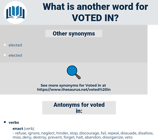 voted in, synonym voted in, another word for voted in, words like voted in, thesaurus voted in