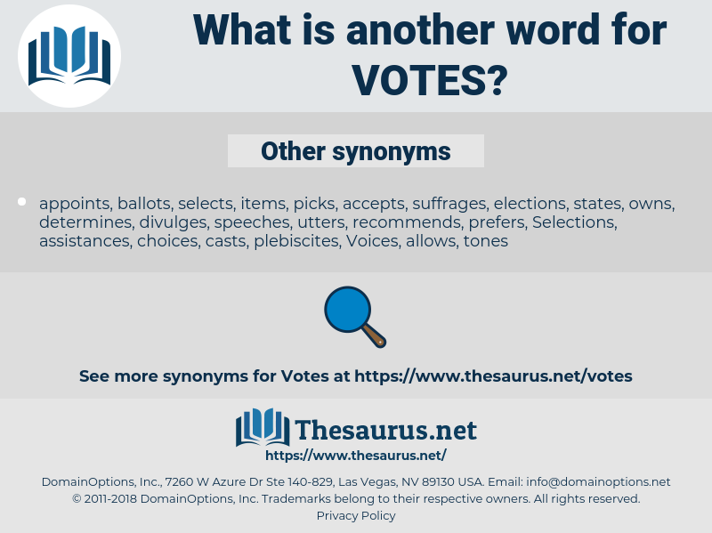 VOTES, synonym VOTES, another word for VOTES, words like VOTES, thesaurus VOTES