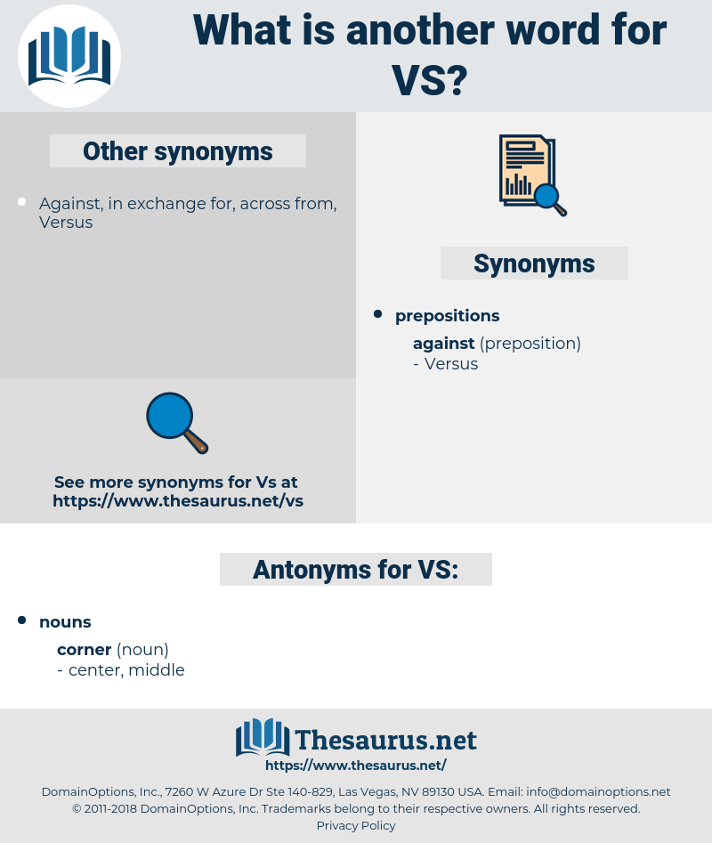 VS, synonym VS, another word for VS, words like VS, thesaurus VS