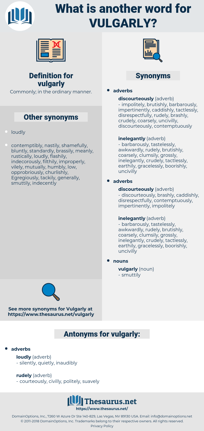 vulgarly, synonym vulgarly, another word for vulgarly, words like vulgarly, thesaurus vulgarly