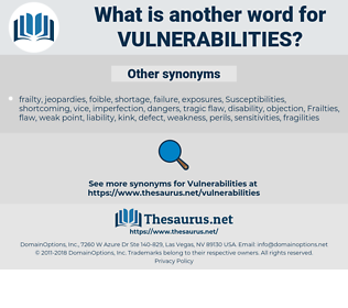 vulnerabilities, synonym vulnerabilities, another word for vulnerabilities, words like vulnerabilities, thesaurus vulnerabilities