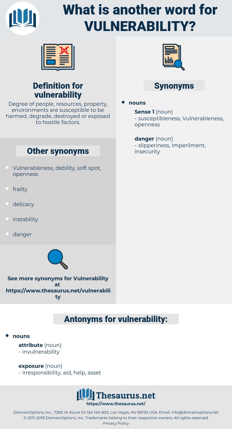 vulnerability, synonym vulnerability, another word for vulnerability, words like vulnerability, thesaurus vulnerability