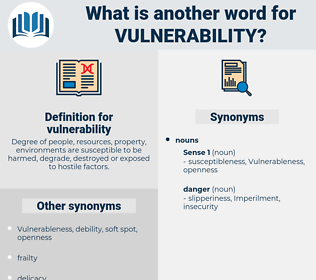 vulnerability, synonym vulnerability, another word for vulnerability, words like vulnerability, thesaurus vulnerability