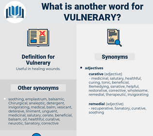 Vulnerary, synonym Vulnerary, another word for Vulnerary, words like Vulnerary, thesaurus Vulnerary
