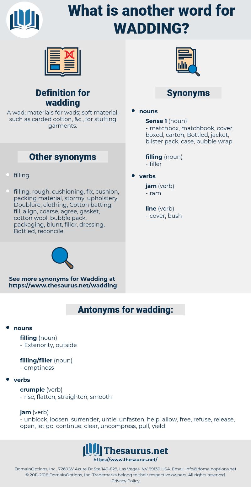 wadding, synonym wadding, another word for wadding, words like wadding, thesaurus wadding