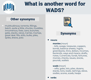 wads, synonym wads, another word for wads, words like wads, thesaurus wads
