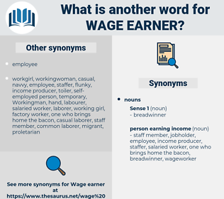 wage earner, synonym wage earner, another word for wage earner, words like wage earner, thesaurus wage earner