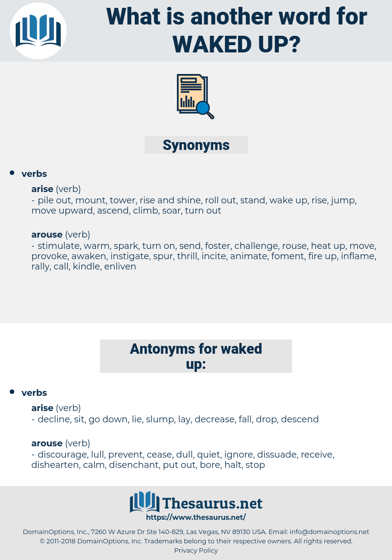 waked up, synonym waked up, another word for waked up, words like waked up, thesaurus waked up
