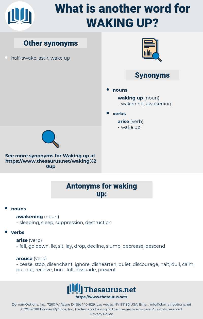 waking up, synonym waking up, another word for waking up, words like waking up, thesaurus waking up