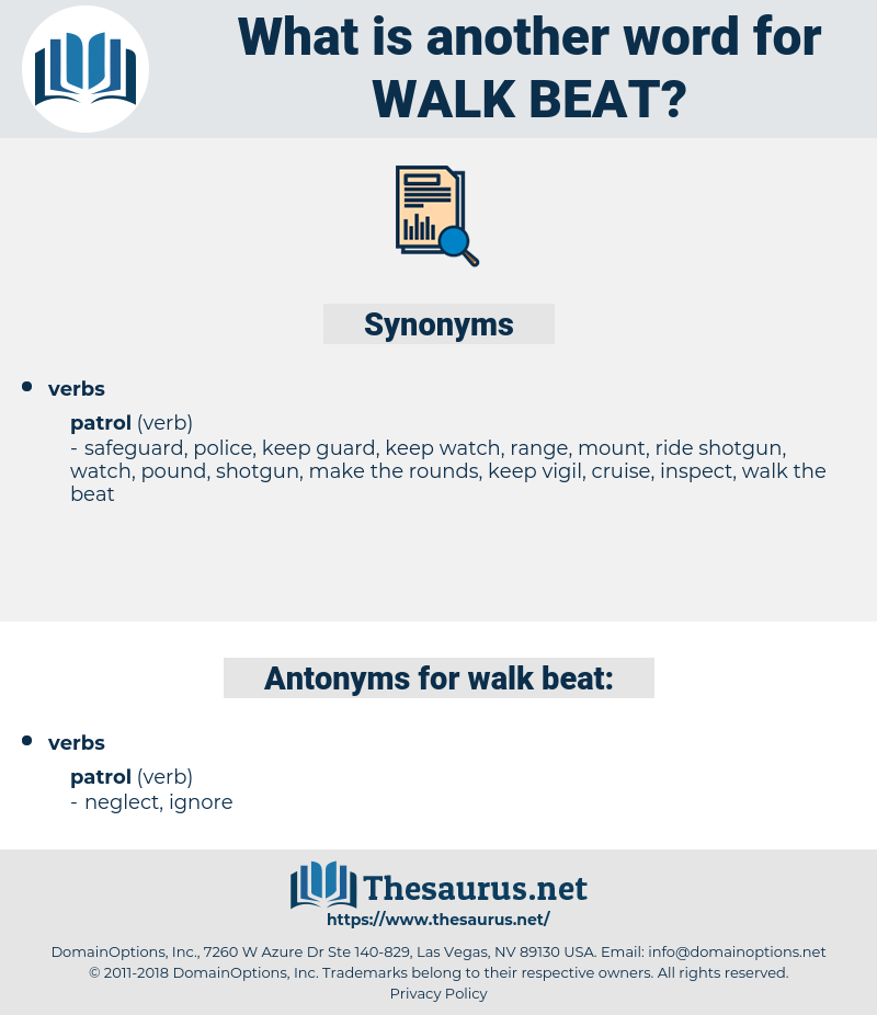 walk beat, synonym walk beat, another word for walk beat, words like walk beat, thesaurus walk beat