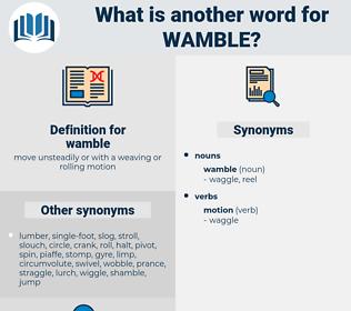 wamble, synonym wamble, another word for wamble, words like wamble, thesaurus wamble