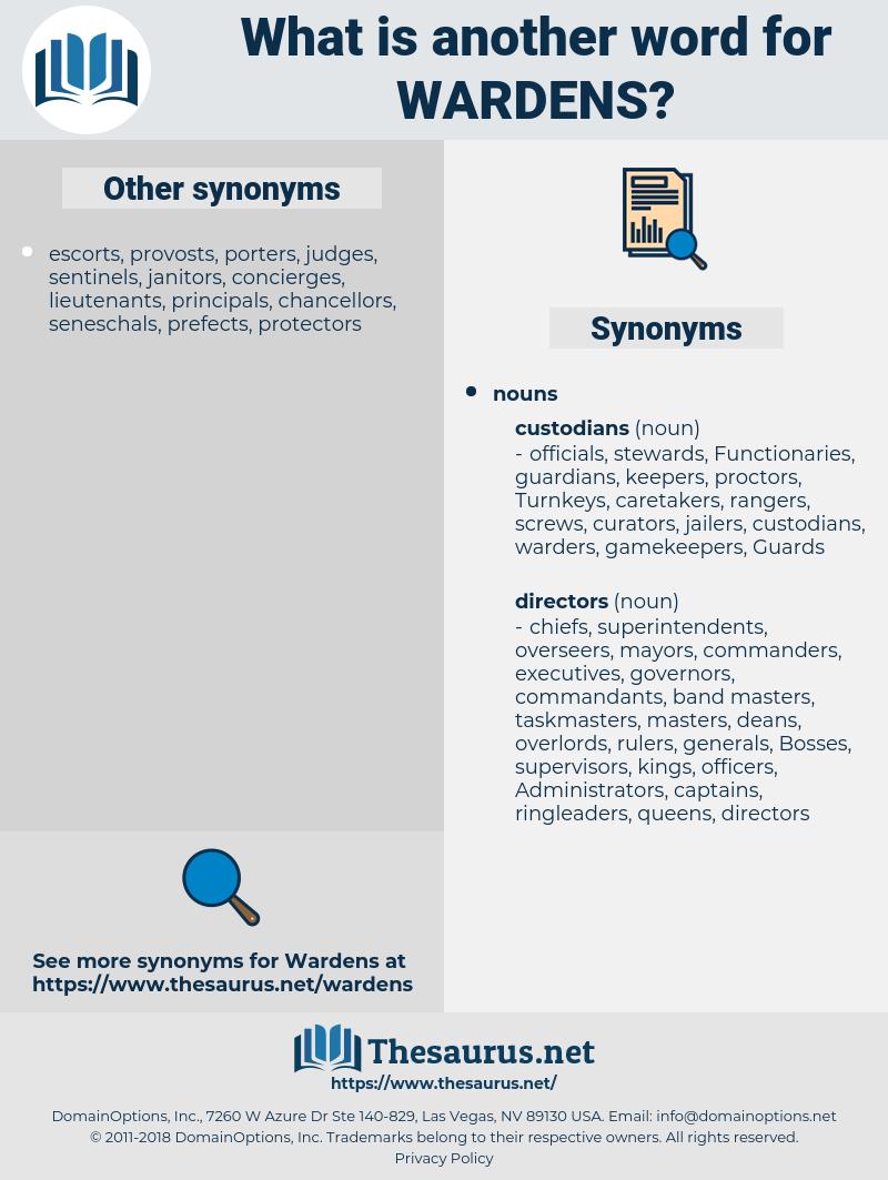 wardens, synonym wardens, another word for wardens, words like wardens, thesaurus wardens