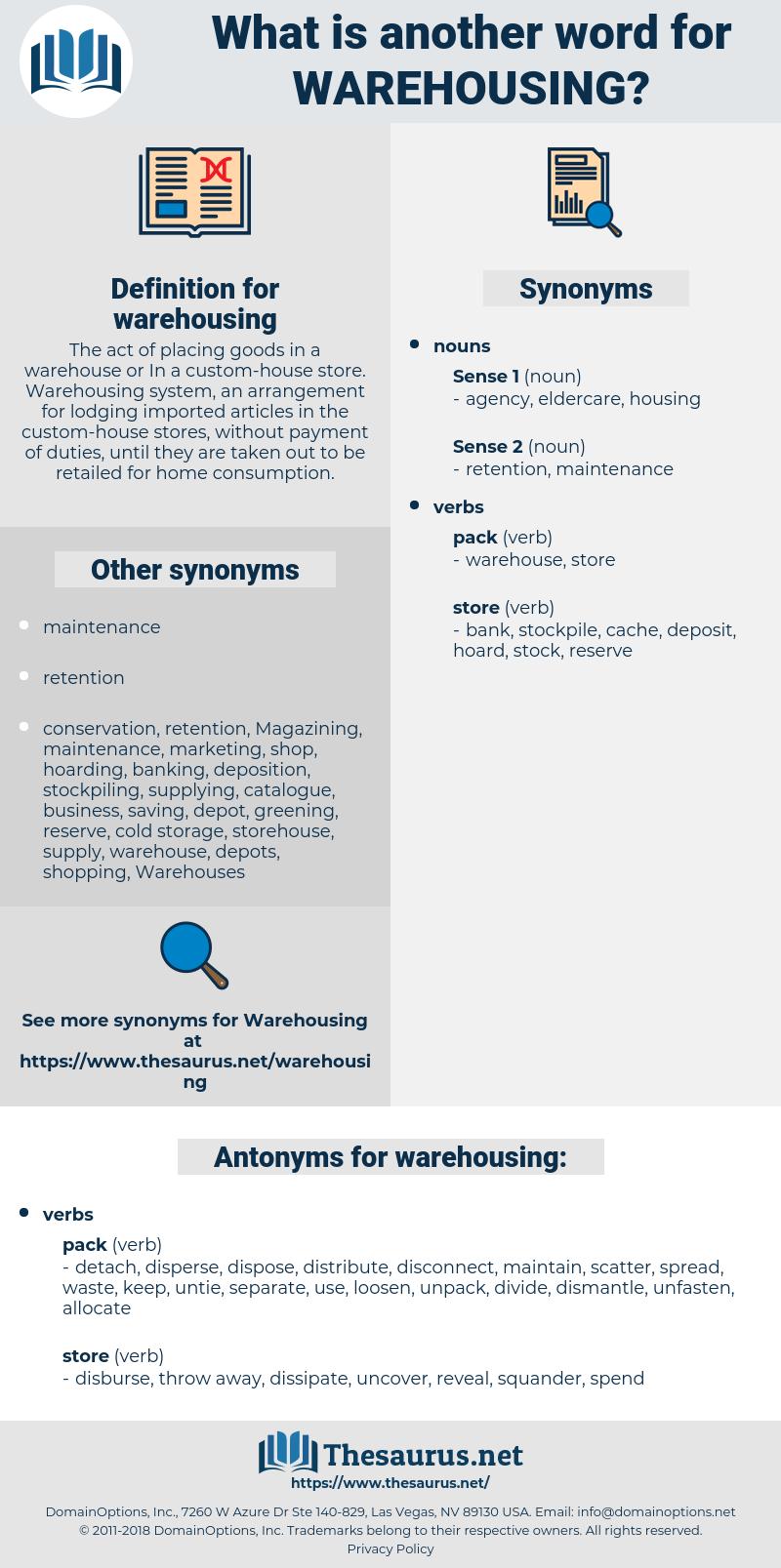 warehousing, synonym warehousing, another word for warehousing, words like warehousing, thesaurus warehousing