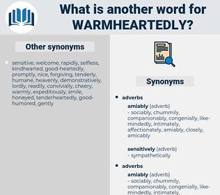 warmheartedly, synonym warmheartedly, another word for warmheartedly, words like warmheartedly, thesaurus warmheartedly