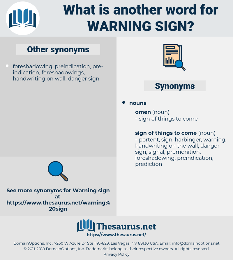 warning sign, synonym warning sign, another word for warning sign, words like warning sign, thesaurus warning sign