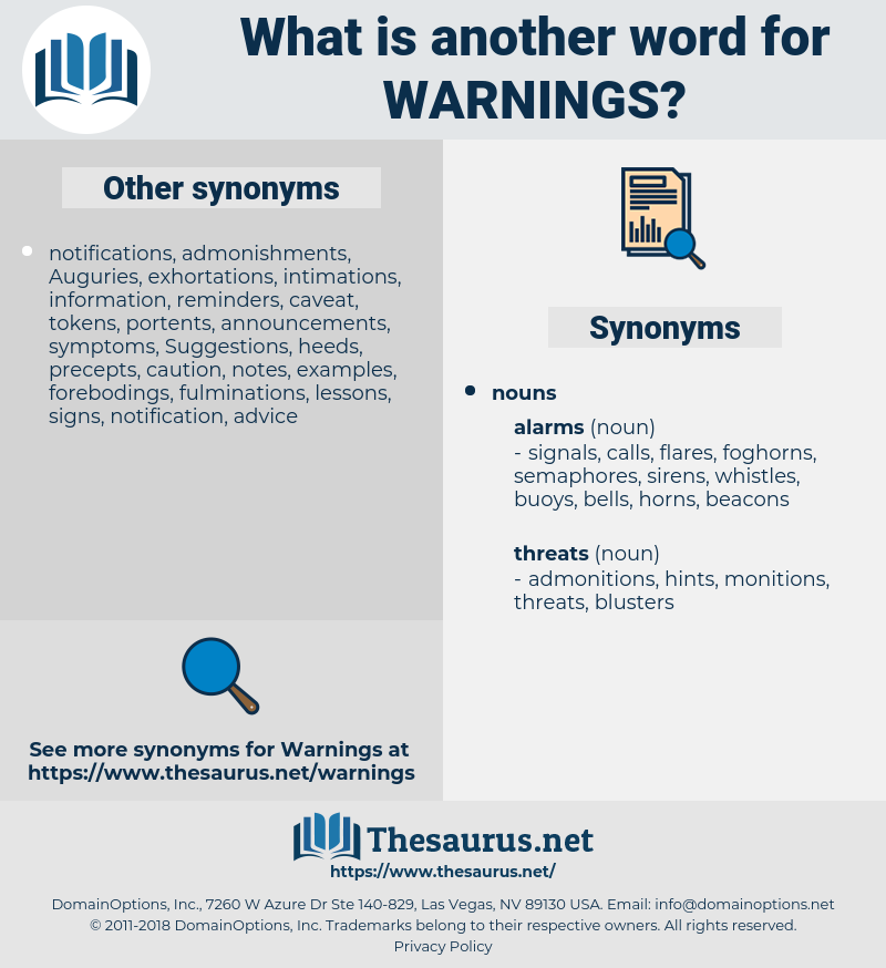 warnings, synonym warnings, another word for warnings, words like warnings, thesaurus warnings