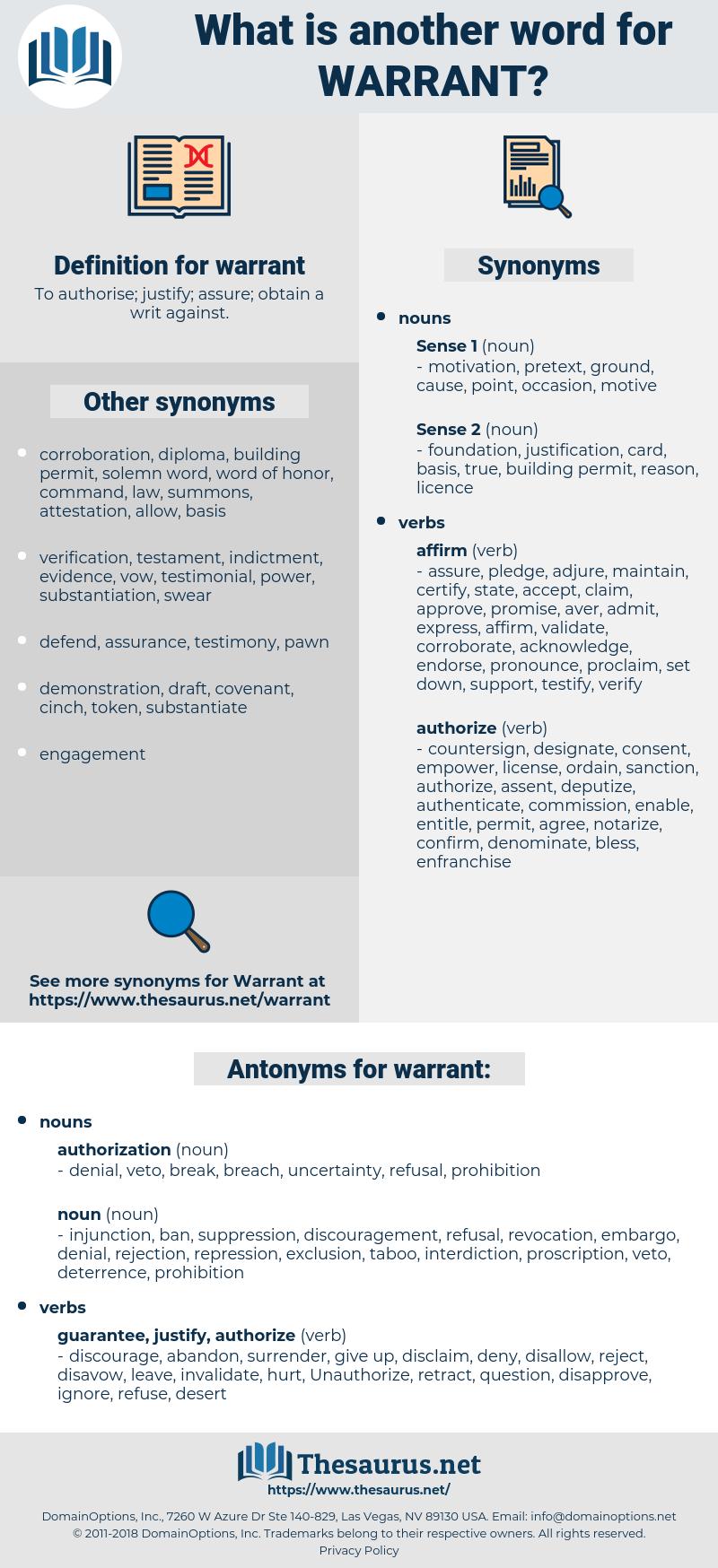 warrant, synonym warrant, another word for warrant, words like warrant, thesaurus warrant