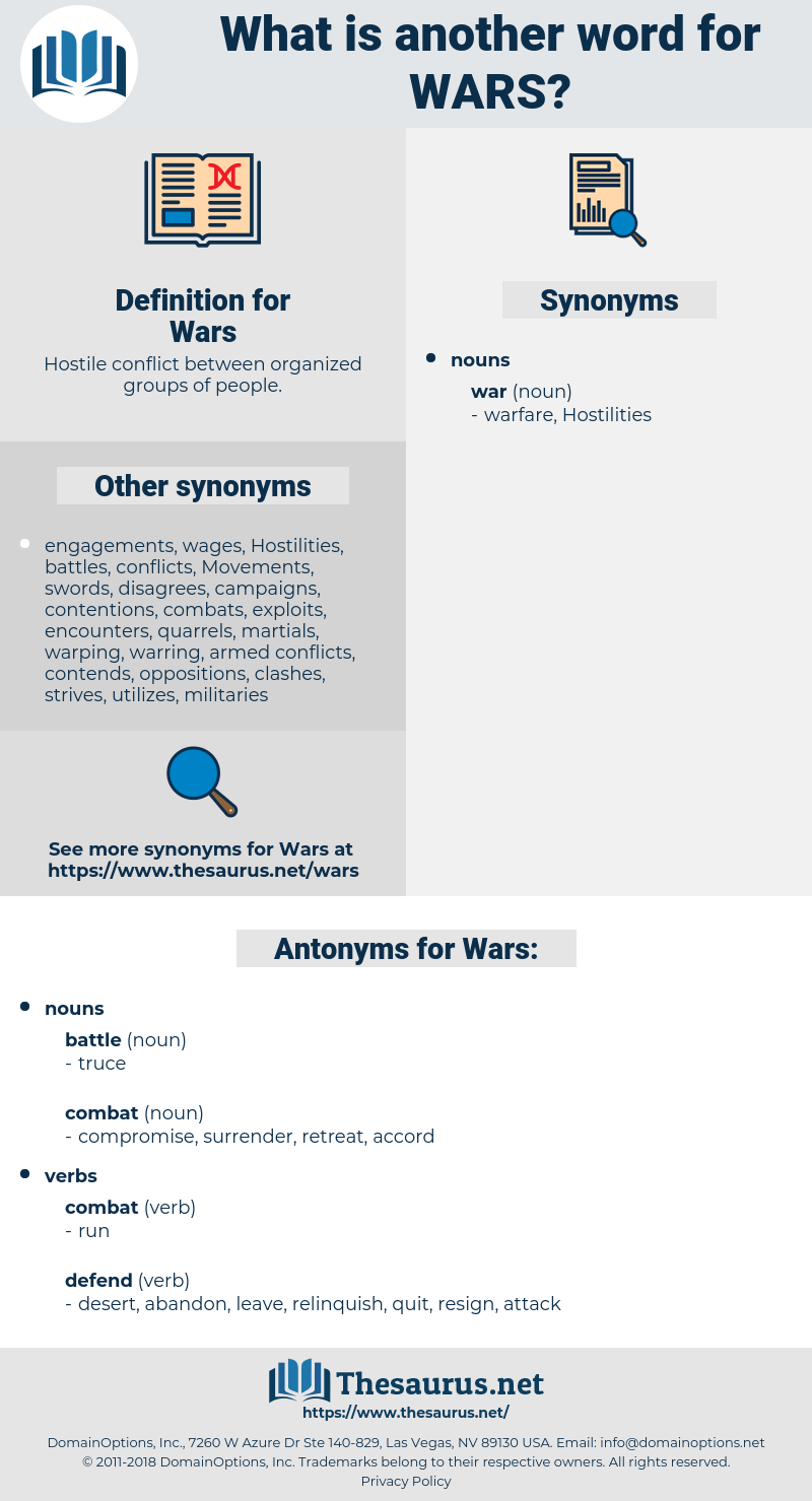 Wars, synonym Wars, another word for Wars, words like Wars, thesaurus Wars