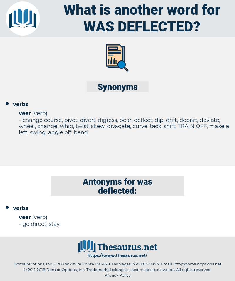 was deflected, synonym was deflected, another word for was deflected, words like was deflected, thesaurus was deflected