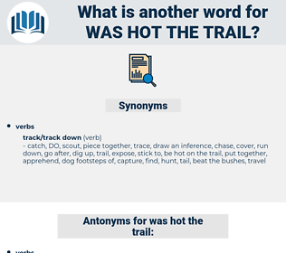 was hot the trail, synonym was hot the trail, another word for was hot the trail, words like was hot the trail, thesaurus was hot the trail