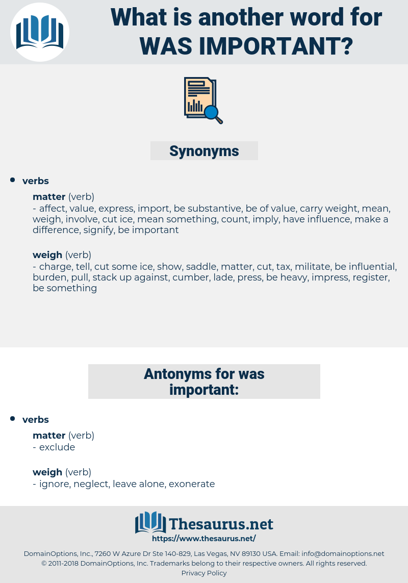 was important, synonym was important, another word for was important, words like was important, thesaurus was important