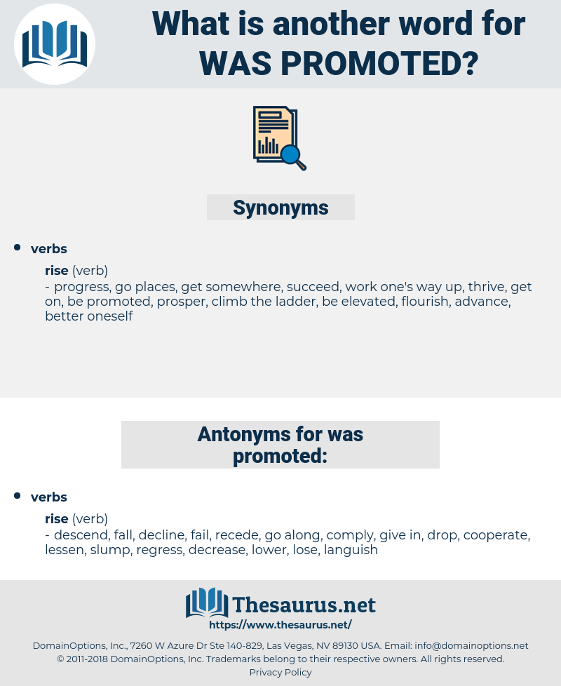 was promoted, synonym was promoted, another word for was promoted, words like was promoted, thesaurus was promoted