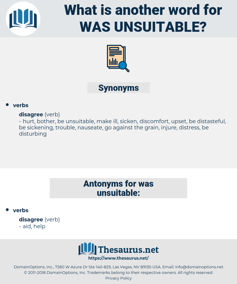 was unsuitable, synonym was unsuitable, another word for was unsuitable, words like was unsuitable, thesaurus was unsuitable
