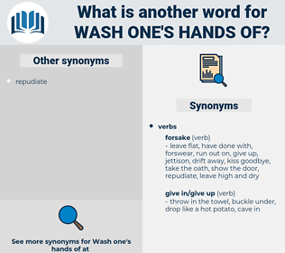 wash one's hands of, synonym wash one's hands of, another word for wash one's hands of, words like wash one's hands of, thesaurus wash one's hands of
