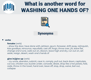 washing one hands of, synonym washing one hands of, another word for washing one hands of, words like washing one hands of, thesaurus washing one hands of