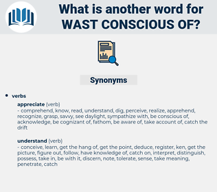 wast conscious of, synonym wast conscious of, another word for wast conscious of, words like wast conscious of, thesaurus wast conscious of