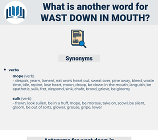 wast down in mouth, synonym wast down in mouth, another word for wast down in mouth, words like wast down in mouth, thesaurus wast down in mouth