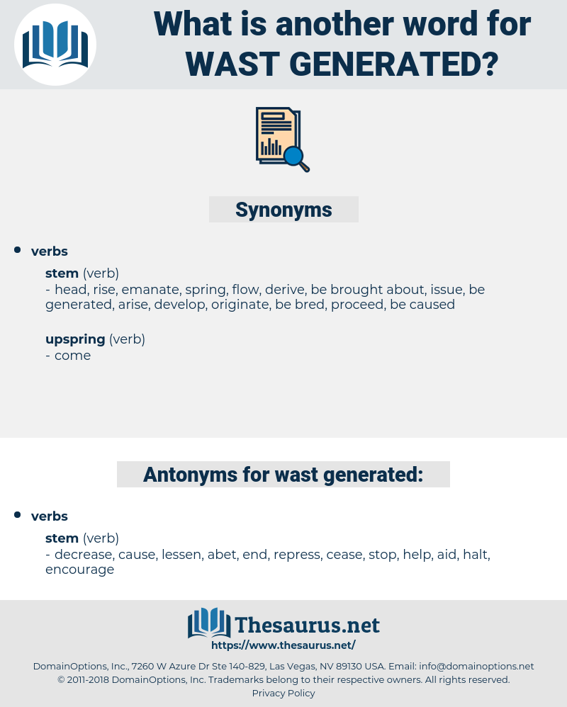 wast generated, synonym wast generated, another word for wast generated, words like wast generated, thesaurus wast generated