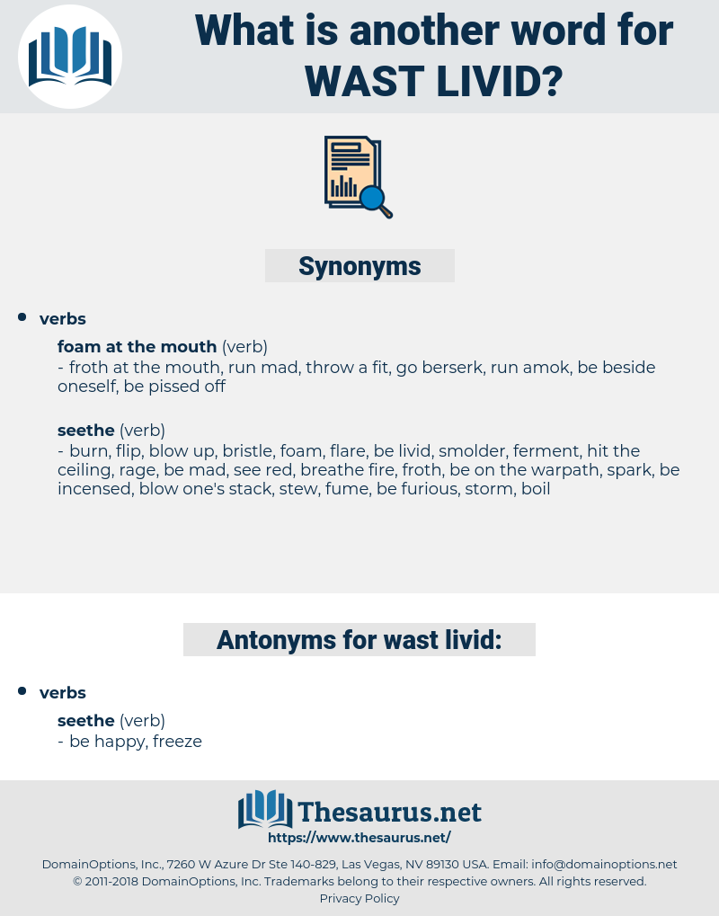 wast livid, synonym wast livid, another word for wast livid, words like wast livid, thesaurus wast livid