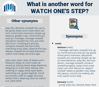 watch one's step, synonym watch one's step, another word for watch one's step, words like watch one's step, thesaurus watch one's step