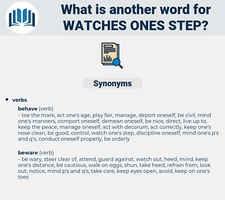 watches ones step, synonym watches ones step, another word for watches ones step, words like watches ones step, thesaurus watches ones step
