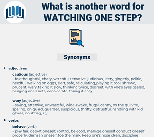 watching one step, synonym watching one step, another word for watching one step, words like watching one step, thesaurus watching one step