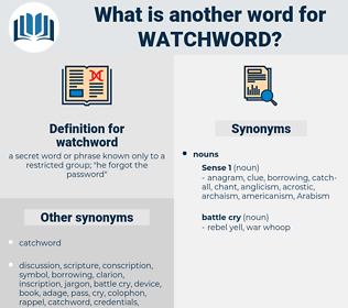 watchword, synonym watchword, another word for watchword, words like watchword, thesaurus watchword