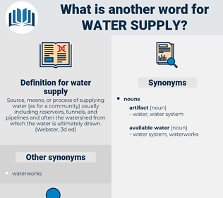 water supply, synonym water supply, another word for water supply, words like water supply, thesaurus water supply