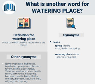 watering place, synonym watering place, another word for watering place, words like watering place, thesaurus watering place