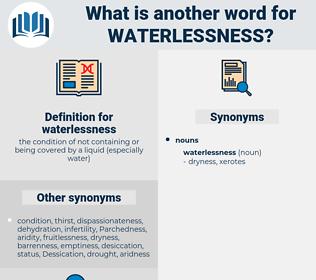 waterlessness, synonym waterlessness, another word for waterlessness, words like waterlessness, thesaurus waterlessness