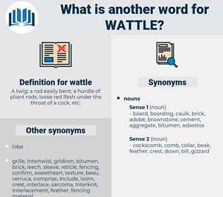 wattle, synonym wattle, another word for wattle, words like wattle, thesaurus wattle