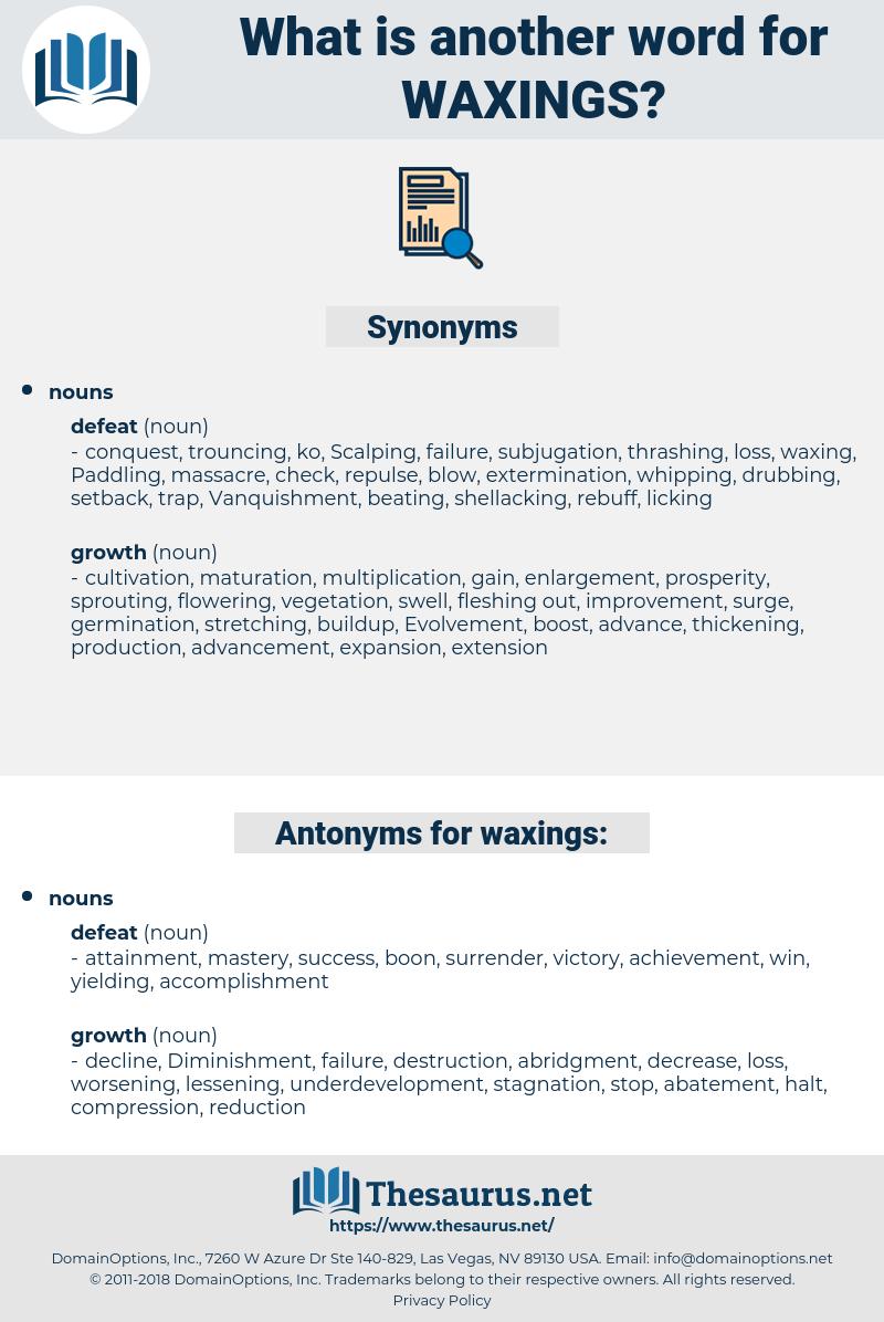 waxings, synonym waxings, another word for waxings, words like waxings, thesaurus waxings
