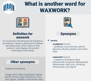 waxwork, synonym waxwork, another word for waxwork, words like waxwork, thesaurus waxwork